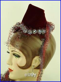 VINTAGE 1950s HAT BES-BEN COCKTAIL HAT, DEEP RED VELVET w RHINESTONE ORBS & VEIL