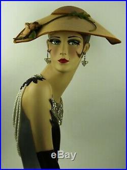 VINTAGE 1950s WIDE BRIM PICTURE HAT'NEW LOOK' TEAR DROP STRAW w VELVET EDGES