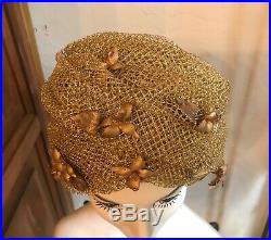 VINTAGE 1960s CHRISTIAN DIOR Gold Net Turban Hat Chapeaux NWT
