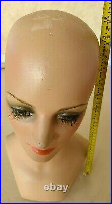 VINTAGE 1960s Woman Mannequin Head / Hand Painted / Hat or Wig Stand