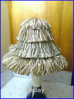 VINTAGE 60s HAPPY CAPPERS RAFFIA HIGH BUCKET CROWN BEACH PARTY HAT 22 NWOT