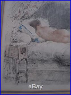 VINTAGE ANTOINE CALBET LITHOGRAPH OF SLEEPING NUDE WOMAN with YELLOW HAT