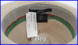 9aa5d8c2 VINTAGE GUCCI Green Red WEB Womens Striped Straw Fedora Sun Brim Beach Hat  NEW