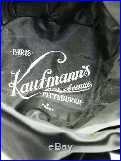 VINTAGE HAT 1920s CLOCHE HAT BEAUTIFUL BLACK VELVET & SATIN, w RHINESTONE JABOT