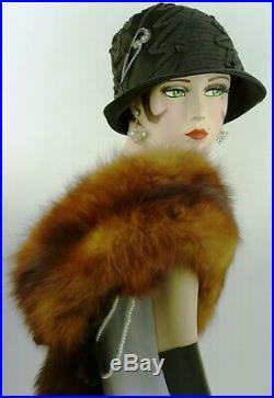 VINTAGE HAT 1920s CLOCHE HAT, BLACK & SATIN LEAVES, w RHINESTONE DECO HAT FLASH