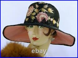 VINTAGE HAT 1920s CLOCHE WIDE BRIM POINT DE BEAUVAIS EMBROIDERY, BLACK & PINK