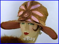 VINTAGE HAT 1920s DECO WIDE BRIM CLOCHE HAT, PINK SILK, STRAW & BIG FLOWER FRONT