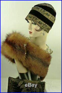 VINTAGE HAT 1920s FRENCH'GEORGETTE RYS' HELMET CLOCHE & CLUTCH PURSE BLK & GOLD