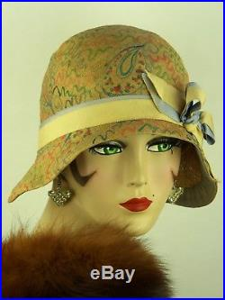 VINTAGE HAT 1920s USA, EXCEPTIONAL CLOCHE, LASDON NY & PARIS, HAND PAINTED STRAW