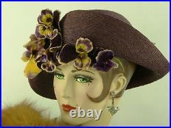VINTAGE HAT 1930s ASYMMETRIC PURPLE STRAW w SILK RIBBONS & VELVET PANSIES HATPIN