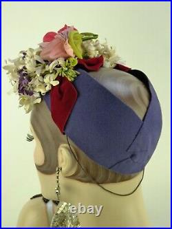 VINTAGE HAT 1930s FRENCH, CAROLINE REBOUX, PURPLE FELT, VELVET RIBBONS & FLOWERS