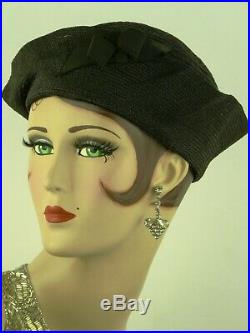 VINTAGE HAT 1930s FRENCH, DECO CALOT HAT, BLACK SISAL w ICONIC'SAILOR' SHAPING