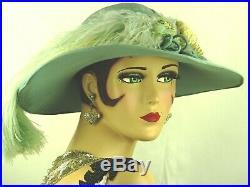VINTAGE HAT 1930s FRENCH DUCK EGG BLUE CHIFFON WIDE BRIM SUMMER GARDEN PARTY HAT