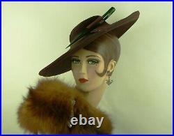 VINTAGE HAT 1930s, GAGE BROTHERS & CO. WIDE BRIM HAT, BROWN SISAL, BAKELITE TRIM