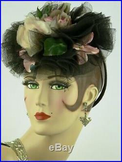 VINTAGE HAT 1940s'GAGE BROS. & CO.' STUNNING BLACK TULLE & ROSES HOOP BACK TILT