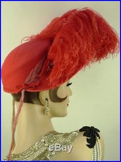 VINTAGE HAT 1940s KENETH HOPKINS FLAMINGO PINK HOLLYWOOD OSTRICH FEATHER BONNET
