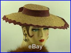 VINTAGE HAT 1940s MADAME PAULETTE WIDE BRIM TILT HAT, FINE STRAW & PLUM RIBBON