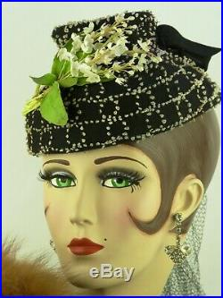 VINTAGE HAT 1940s STUNNING BLACK & WHITE BOUCLE TILT, LILY OF THE VALLEY, HATPIN