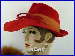 VINTAGE HAT 1940s STUNNING SCARLET RED FELT WIDE BRIM FEDORA, CASABLANCA EX COND