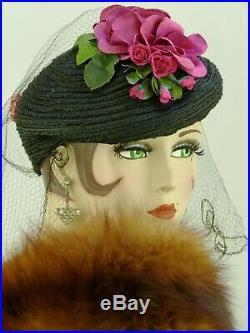 VINTAGE HAT 1940s USA, BLACK FINE STRAW TILT CAP w FUCHSIA ROSES, HAT PIN & VEIL