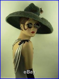 VINTAGE HAT 1940s USA, LESLIE JAMES, HOLLYWOOD GLAMOUR STATEMENT HAT JADE BLUE