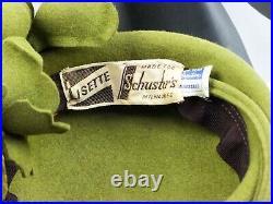 VINTAGE HAT 1940s USA,'LISETTE' SAGE GREEN FELT TILT HAT w FELT ROSES HOOP BACK
