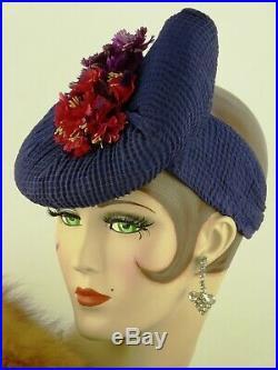 VINTAGE HAT 1940s WWII Era, DOUGHNUT TILT, RIBBED BLUE CHIFFON w FUSCHIA FLOWERS