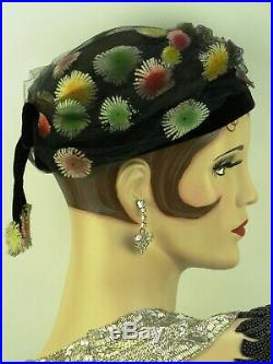 VINTAGE HAT 1950s ENGLISH, ROWNTREES SCARBOROUGH, PRETTY DAY HAT w ORIG HAT BOX
