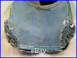 VINTAGE HAT 1950s PALE POWDER BLUE BANDEAU HAT w BRAID & SEQUINS, HAT PIN & VEIL