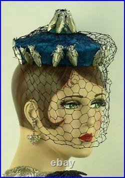 VINTAGE HAT BES-BEN COCKTAIL HAT TURQUOISE FEATHERS w METAL CICADAS FISHNET VEIL