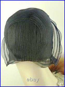 VINTAGE HAT, FRENCH 1920s CLOCHE, NAVY BLUE SISAL TURN BACK BRIM w ARROW FLASH