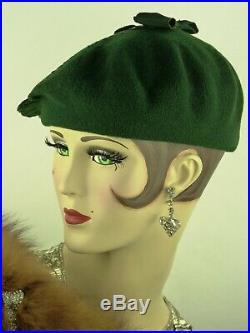 VINTAGE HAT FRENCH 1920s DECO BERET, A RARITY, GENUINE BASQUE, DARK GREEN FELT