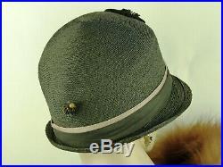 VINTAGE HAT FRENCH EARLY 1920s CLOCHE HAT BLACK STRAW w SILK RIBBON TRIM, HATPIN
