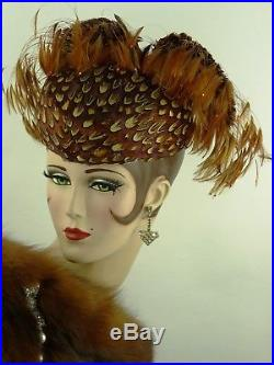 VINTAGE HAT JACK MCCONNELL, PHEASANT FEATHER HAT w WINGS & WISPS OF RHINESTONES