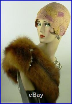 VINTAGE HAT ORIG 1920s HELMET CLOCHE'PROMENADE HAT' FINE MILAN STRAW w SWIRLS