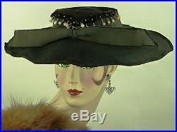 VINTAGE HAT ORIGINAL 1910s ENGLISH, BLACK FINE FELT EDWARDIAN DAY HAT w FLORALS