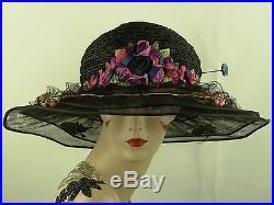 VINTAGE HAT ORIGINAL 1910s FRENCH, BICORN CLOCHE HAT, BLACK TULLE & RIBBON WORK
