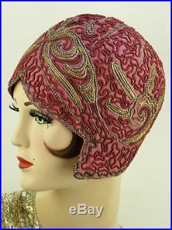 VINTAGE HAT ORIGINAL 1920s HELMET CLOCHE, DEEP PINK WITH SILVER BRAID & SOUTACHE