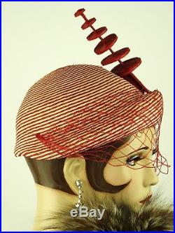 VINTAGE HAT PREVIEW LISTING IN PROGRESS 1930s VEILED SAILOR RED & WHITE STRIPE