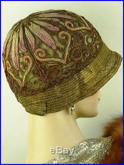 VINTAGE HAT PREVIEW LISTING IN PROGRESS GOLDEN EMBROIDERED 1920s CLOCHE