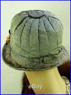 VINTAGE HAT SUPERB ORIGINAL 1910-20s CLOCHE, PALE BLUE GREY SILK & RIBBON WORK