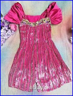 VINTAGE I Magnin DESIGNER dress PINK SEQUINS embroidery SILK draped sleeves