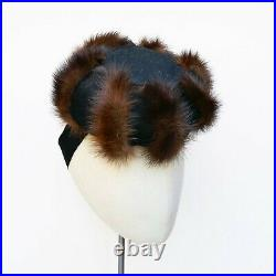 VINTAGE Original 1940s black felt topper, cocktail hat with mink fur trim