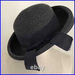 VINTAGE SCHIAPARELLI HAT Straw 1960's Navy Blue Bow Ribbon Grosgrain 7 1/4
