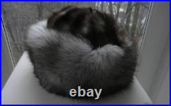 VINTAGE SILVER FOX FUR Deluxe Hat Women's WIDE BRIM Sz S/M Never Worn