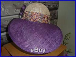 VINTAGE WIDE BRIM Bucket HAT 1920s CLOCHE FLAPPER STRAW RACES downton goodwood