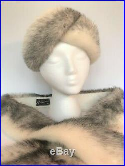VINTAGE White MINK Fur HAT Scarf STOLE Adrienne Original TAILS Black Silver