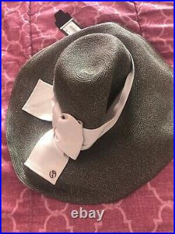 VIntage GIORGIO ARMANI Straw Hat SAGE with Grey Ribbon New With Tags 58