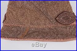 VTG 1920s 1930s LIGHT BROWN STRAW CLOCHE FLAPPER HAT FELT LEAF TRIM