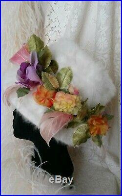 VTG 1960's CHRISTIAN DIOR CHAPEAUX HAT WOMEN Angora Silk Floral COLLECTOR Angora